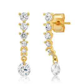 GRADUATED LINEAR CZ EARRING