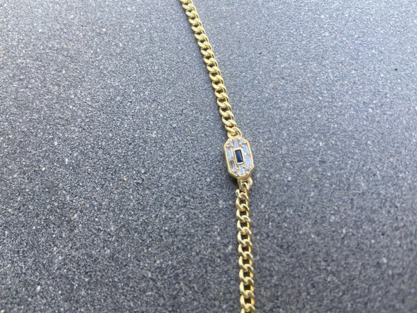 CUBIN LINK BRACELET WITH DIAMOND AND SAPPHIRE BAGUETTE