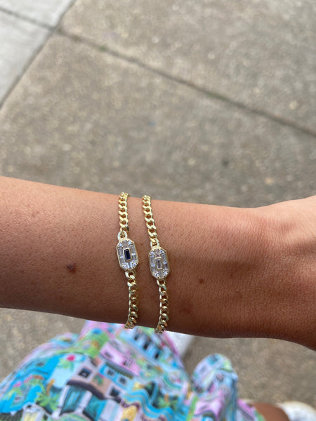 CUBIN LINK BRACELET WITH DIAMOND BAGUETTE