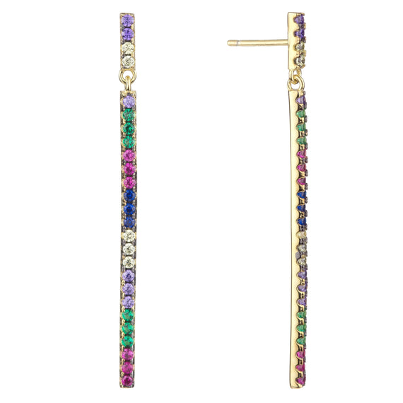 Rainbow Long Stick Earrings