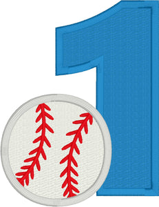 Baseball One Applique