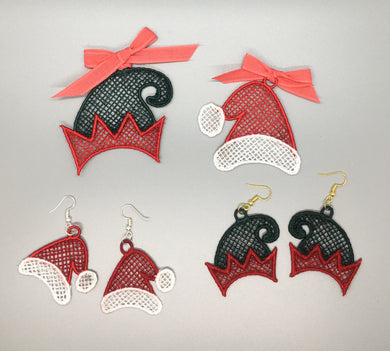 Free Standing Lace Christmas Hat Ornament Set