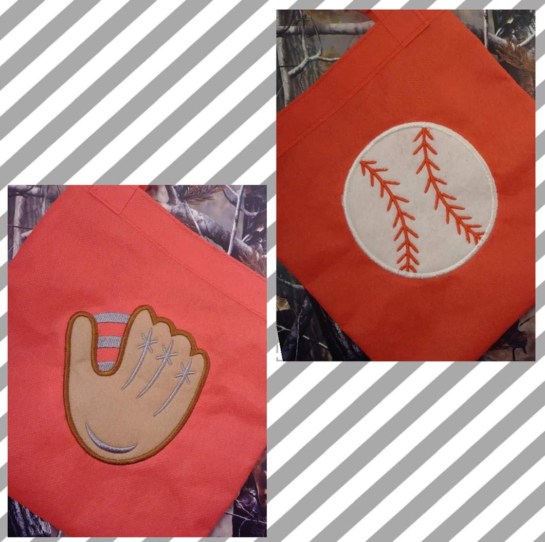Baseball and Glove Applique Set