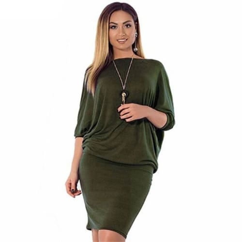 Romacci Plus Size Dresses for Women 4xl 5xl 6xl Fashion Solid Package Hip  Dress Batwing Sleeve ... 6c52d933f5fe