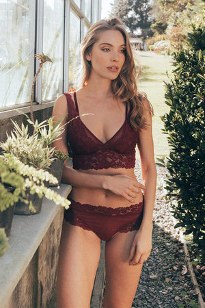 Burgundy Rose Bra