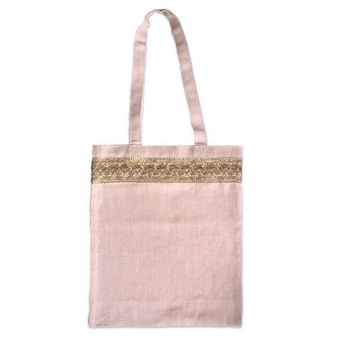 Pink Heavyweight Linen with Gold Braid