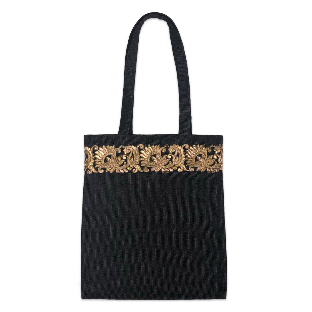 Black Heavyweight Linen with Gold Braid