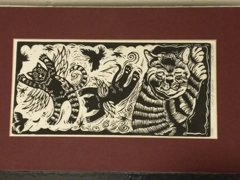 Linda Wolfe local artist cat catnip dreams original woodcut print signed and numbered
