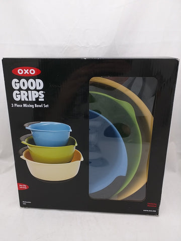 SOLD!!! Oxo good grips 3-piece mixing bowl set blue green yellow new in box