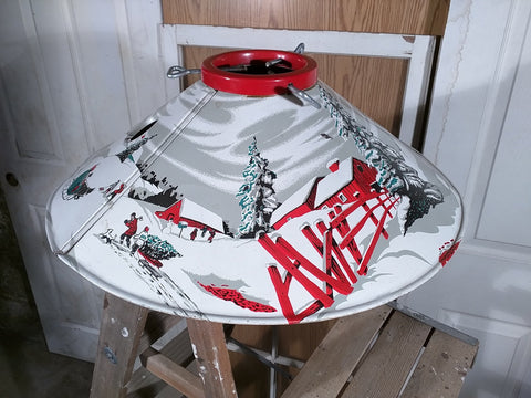Winter scene Sleigh Bridge Christmas tree stand litho vintage metal tin