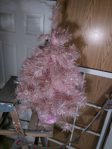 32 in pink Barbie Christmas Tree sparkles with stand.