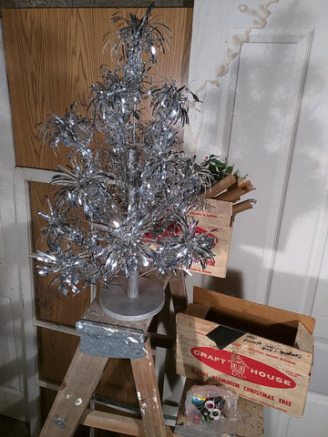 SOLD!!!! Two Christmas Tree 2 foot aluminum Pom pom boxed vintage