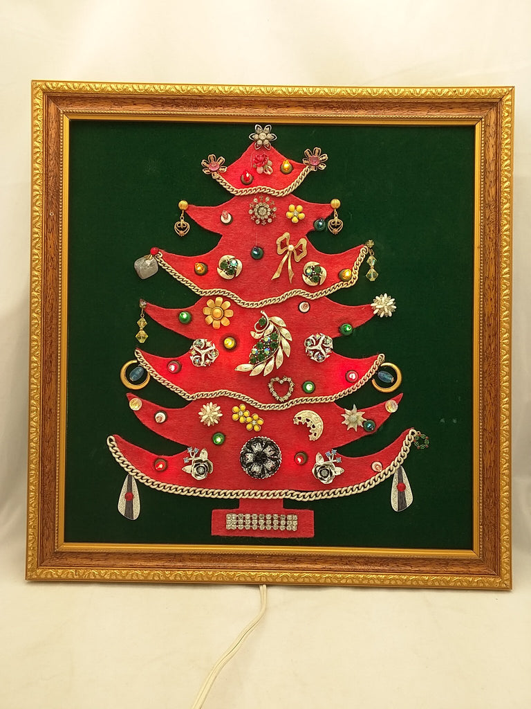 Jewelry Christmas Tree Framed Vintage Art Costume Rhinestone Brooch