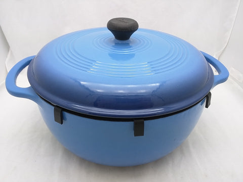 "LODGE 6 QUART BLUE Porcelain Enamel CAST IRON DUTCH OVEN STOCK POT & LID, 11"" x 5.5"""
