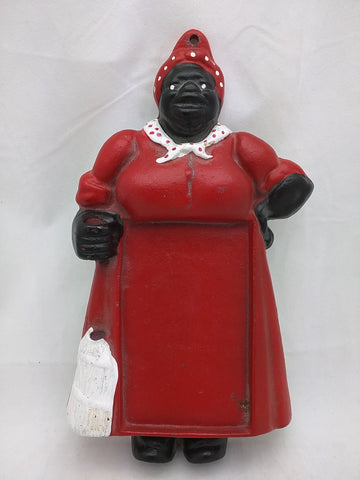 "SOLD!!!  Cast Iron 10"" Aunt Jemima Mammy Note Pad Lady Figurine Black Americana Wall Hanging"
