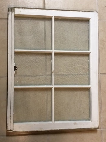 WINDOW opaque textured Pattern glass 6 Six pane vintage white