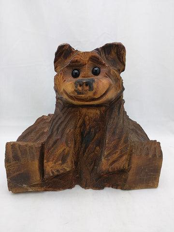 Brown Bear Tree Stump Chainsaw Carved Carving Carve Rustic Cabin Decor Real Wood