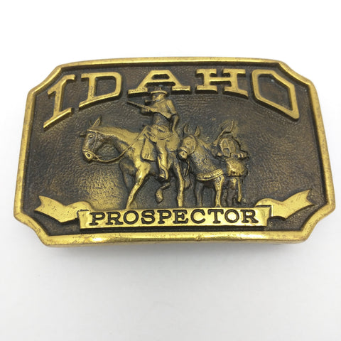 No Stamp Idaho Prospector Belt Buckle 1978 Vintage First Security Corporation Mule Gold Miner