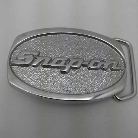 Oval Snap On Tools Chrome Solid Brass Belt Buckle Vintage Snap-on Logo