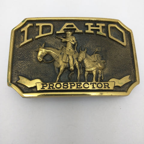 Stamped CW-2294 Idaho Prospector Belt Buckle 1978 Vintage First Security Corporation Mule Gold Miner
