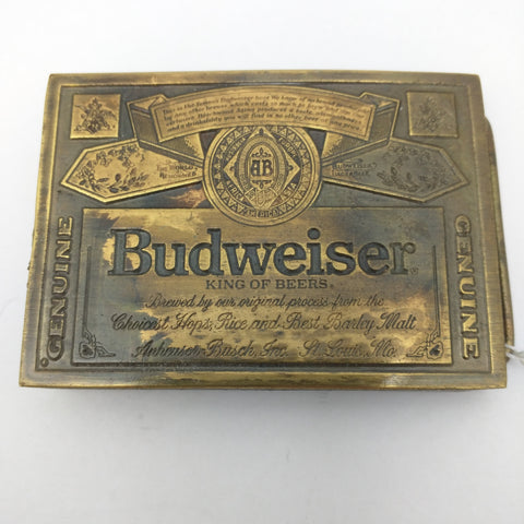 Genuine Budweiser King Of Beers Anheuser Busch Belt Buckle 1970's A-168