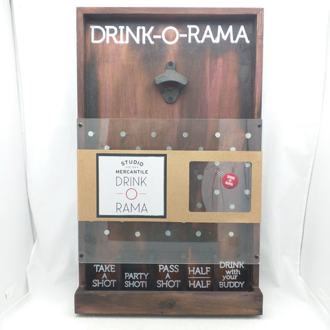 Drink O Rama Plinko Type Alcohol Beer Bar Drinking Bottle Opener Cap Game Wood Party Man Cave