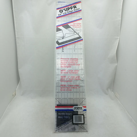"O'Lipfa Olfa Cutters & mats Lip Edge Ruler Model No. 11111 Quilting 24"" x 5"" Vtg"
