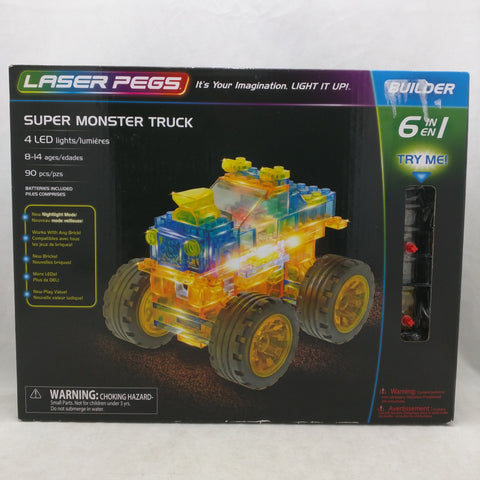 Super Monster Truck LED Laser Pegs 6in1 Builder New And Sealed Lazer