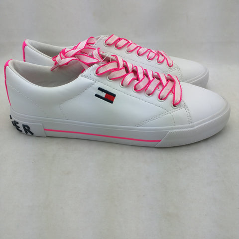 9.5 New Tommy Hilfiger Flint 2 Sneakers White Pink Womens Street Chic Shoes Lace Up