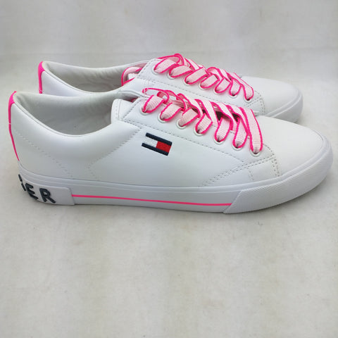 9 New Tommy Hilfiger Flint 2 Sneakers White Pink Womens Street Chic Shoes Lace Up