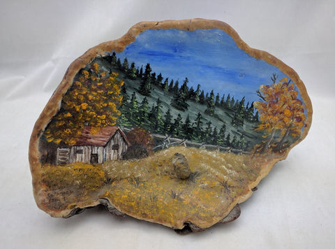 5X9 Inches Gall Burl Wood Art Painting Mountains Cabin Rustic Decor Scene Signed