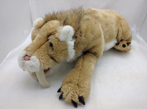 FOLKMANIS VINTAGE SABER-TOOTHED CAT / TIGER HAND PUPPET RARE plush stuffed tooth