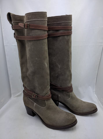 Sz 9 B Frye Jane Stappy Suede Fatigue Knee High Riding Boots 76395 Harness