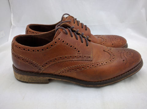 J & M 1850 Mens Shoes Size 8.5 Tan Leather Wingtip Johnston Murphy - ITALY