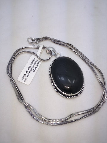 NEW Black Onyx Pendant Necklace Chain German Silver