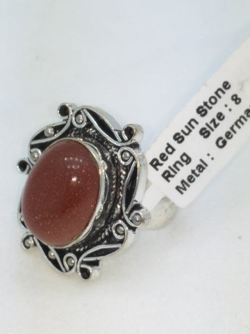 NEW Red Sunstone Size 8 German Silver Ring