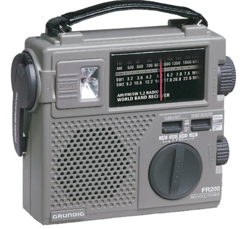 Grundig FR200 Emergency AM FM Shortwave Radio Hand Crank Recharge Flashlight