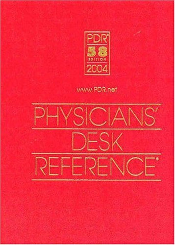 [[Format:Hardcover]] [[Author:Physicians' Desk Reference (PDR) Staff]] [[Edition:2004]] [[ISBN-10:1563634716]] [[Condition:Used; Good]] [[binding:Hardcover]] [[manufacturer:Thompson Healthcare]] [[number_of_pages:3000]] [[publication_date:2004-01-01]]