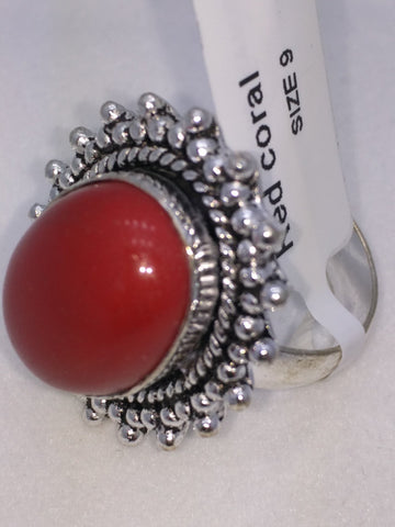 NEW Red Coral Ring German Silver Size 9