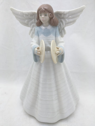 AS-IS Lladro Angel Christmas Tree Topper Cymbals Porcelain 7 In Broken Finger