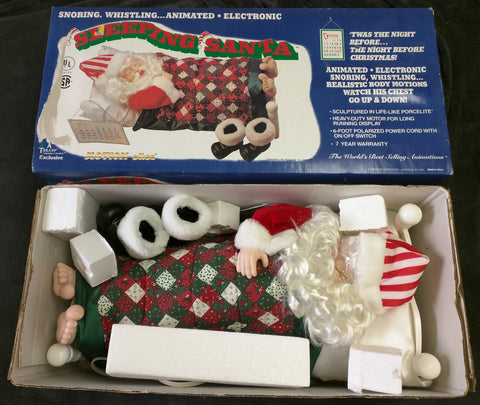 "Sleeping Santa Telco Snoring Whistling Animated Belly Electronic 22"" Working"
