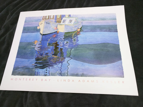 Monterey Bay Linda Adams Kessler Print Art Watercolor Litho 1989 25x19