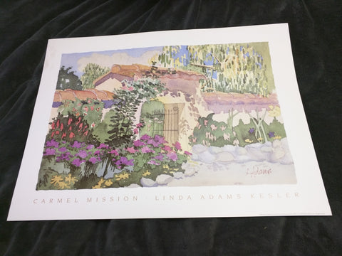 Carmel Mission Linda Adams Kesler Print Art Mission Gate Litho 1988 25x19