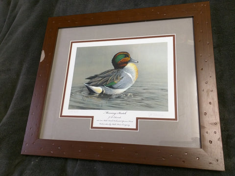 Morning Stretch JP Edwards Signed Numbered Ducks Unlimited Idaho Print Framed 18x15 AS-IS