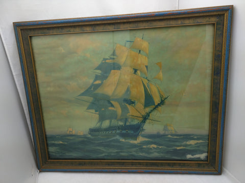 Gordon Grant 1927 Schooner Ship Windjammer Print Framed 23x19 Clipper Maritime Boat