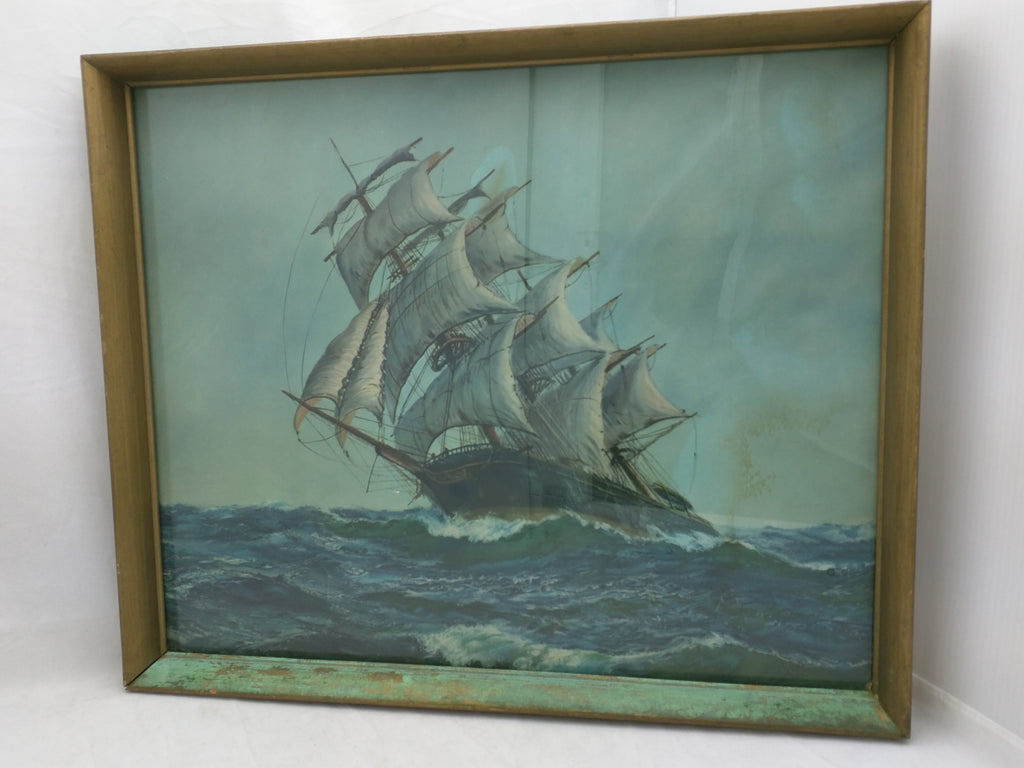 Ship Print Reliance Picture Frame Vintage Schooner 18x14 As Is