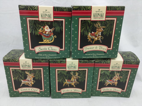 Hallmark Santa And His Reindeer Ornament Collection Set