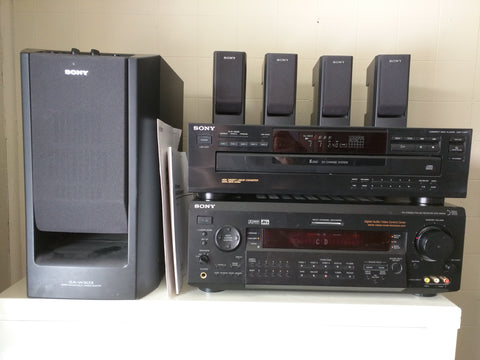 Sony Stereo Amp Sub 5 CD Receiver 4 Speakers STR-DE925