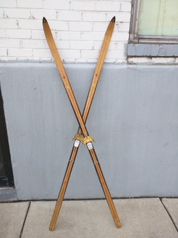 Lampinen Cross Country Skis Wood Wooden Vintage