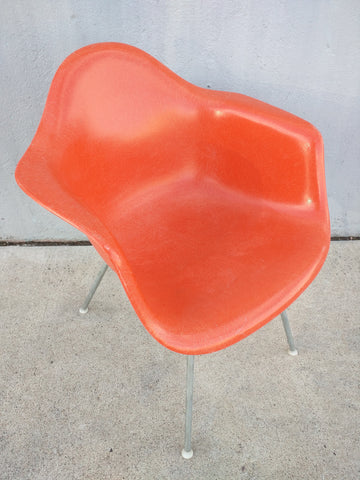Herman Miller Chair Fiberglass Orange Mid Century Curved